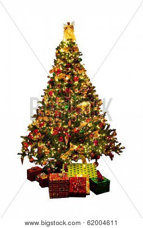 Decorated Christmas tree with presents isolated on white background