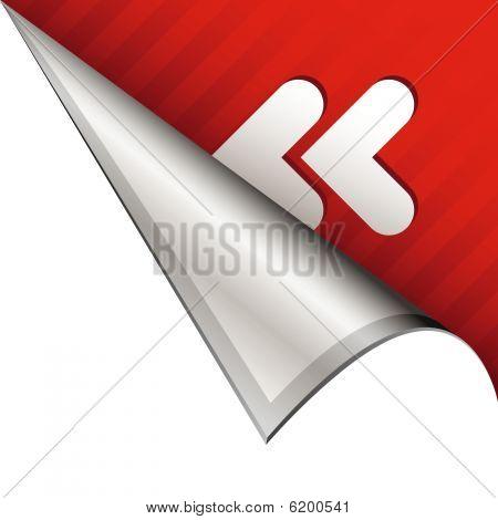 Reverse icon on peeling corner tab