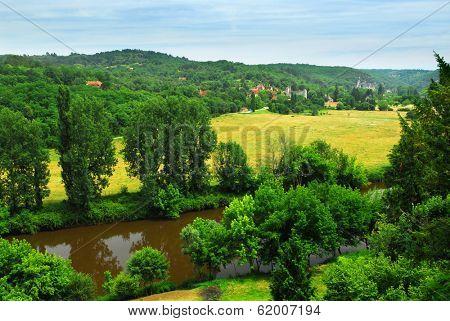 Scenic view on Dordogne river and contryside, Perigord, France