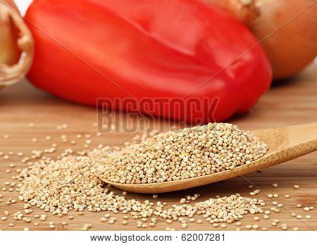 Raw Quinoa On A Wooden Spoon, Macro Selective Focus.