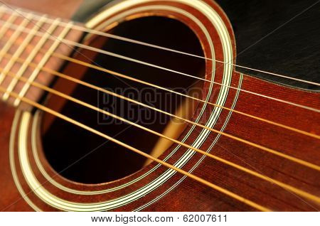 Body of an acoustic guitar close up