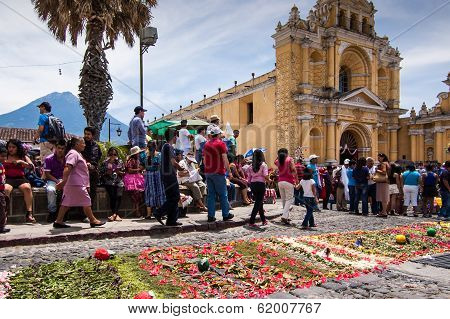 Easter Sunday flower carpet, Antigua, Guatemala