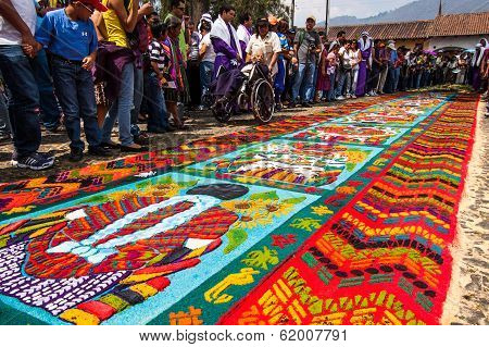 Holy Week carpet in Antigua, Guatemala