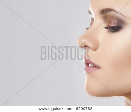 Close Up Face Portrait Of A Woman