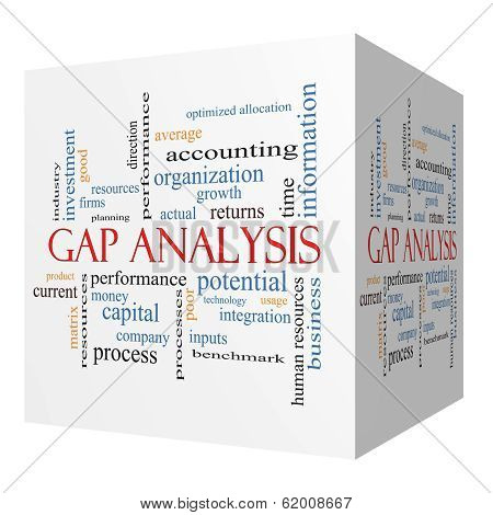 Gap Analysis 3D Cube Word Cloud Concept