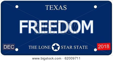 Freedom Texas Imitation License Plate