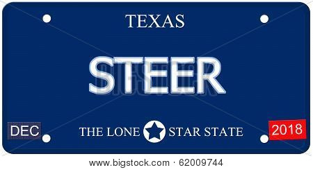 Steer Texas Imitation License Plate