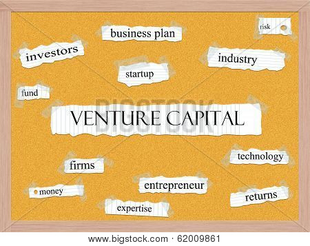 Venture Capital Corkboard Word Concept