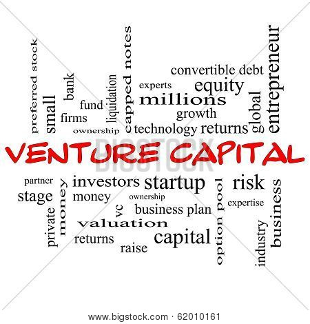 Venture Capital Word Cloud Concept In Red Caps