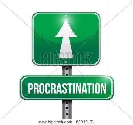 Procrastination Signpost Illustration Design
