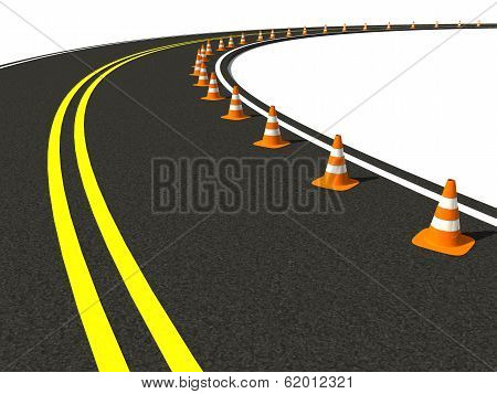 Traffic Cone On Winding Road