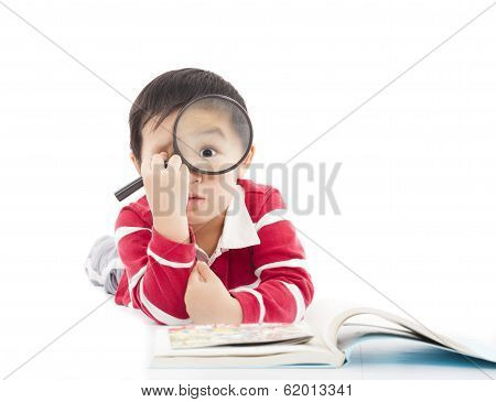 Surprised Kid Is Holding Magnifying Glass