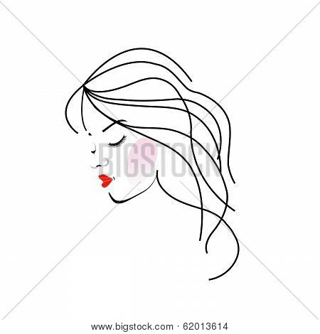Illustration of a girl with wavy hair