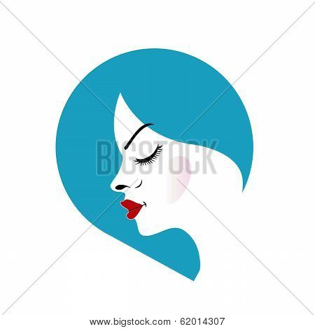 A lady's face in a blue placement- beauty icon