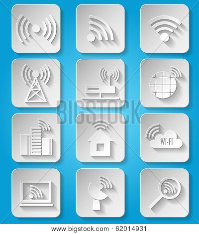 Wireless communication network icons set