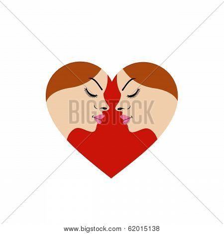 Symbol for fertility clinic- faces in red heart showing fertility