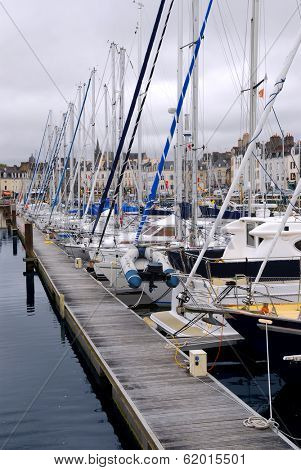 Sailboats moored in the harbor in Vannes, Brittany, France