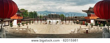 Ornamental Courtyard Of Palace In Lijiang, China, Oil Paint Stylization