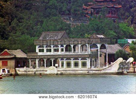 Stylized Photo Of Marble Boat Of Empress Cixi In Summer Palace, Beijing, China.
