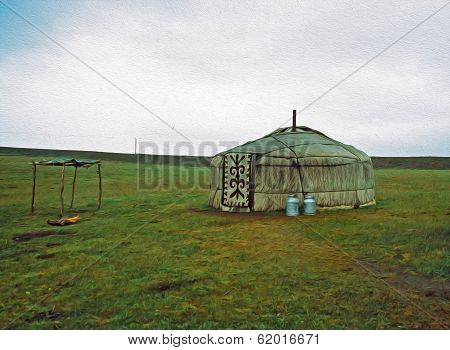 Single Yurt, Oil Paint Stylization