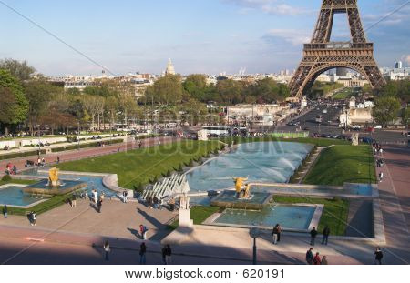 Trocadero Gardens In Afternoon, Paris, France
