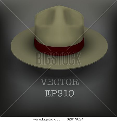 Ranger hat khaki green color. Vector Illustration