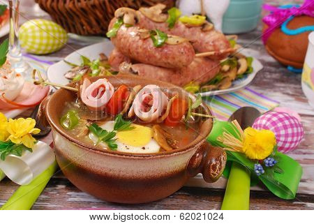 White Borscht With Rolled Ham On Skewer For Easter
