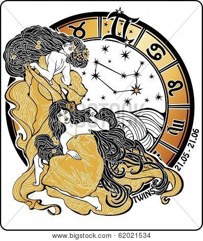 Twins Girl And The Zodiac Sign.horoscope Circle.illustration