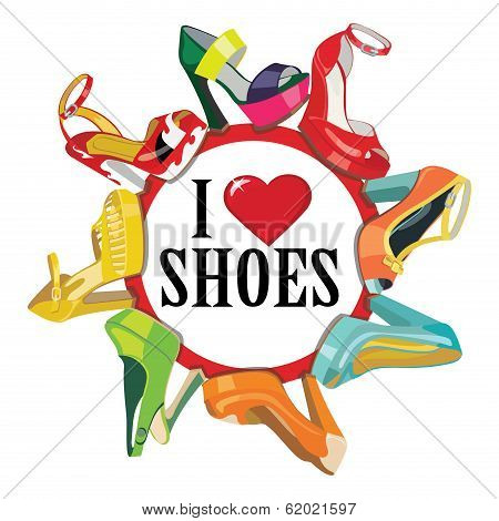 Colorful Fashion Women's High Heel Shoes.fashion Illustration,poster