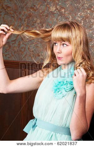 Emotional Young Blond Woman In Vintage Interior