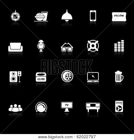 Home Theater Icons With Reflect On Black Background