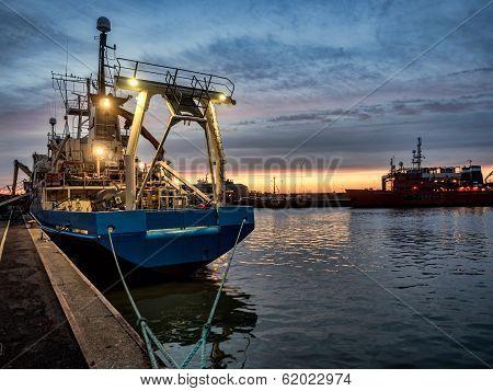 Trawler In Esbjerg Oil Harbor, Denmark