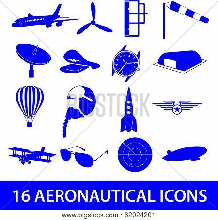 aeronautical icons set eps10