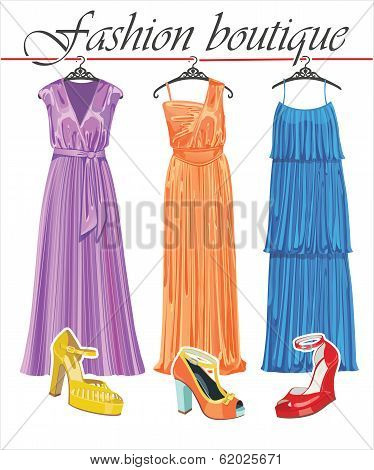 Three Long Summer Silk Dresses With Shoeses.fashion Boutique