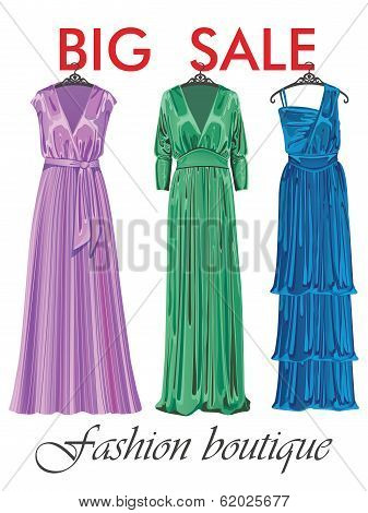 Three Silk Party Dresses.sale