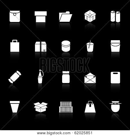 Package Icons With Reflect On Black Background