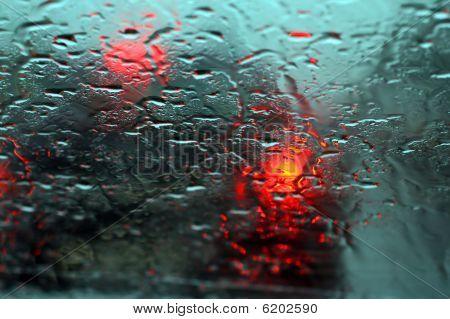 Rain Dripped On Glass