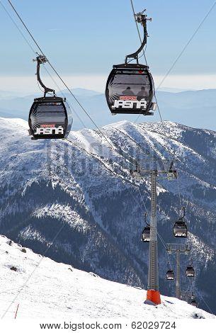 Modern cableway in ski resort Jasna - Low Tatras mountains, Slovakia