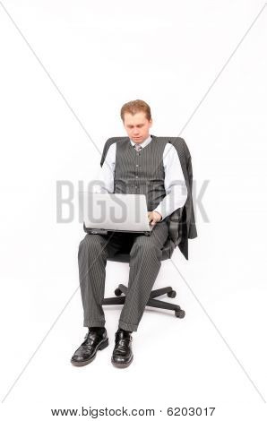 Businessman working on the computer
