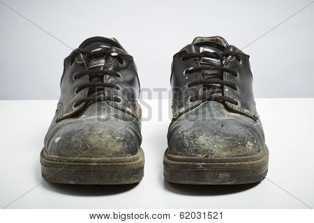 Builders Safety Shoes Isolated On White Background