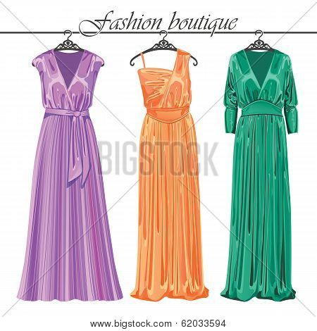 Three Long Silk Party Dresses On A Hanger.fashion Boutique