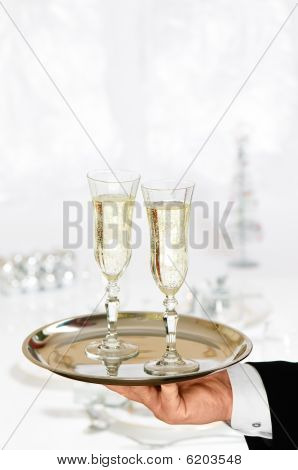 Serving Christmas Champagne