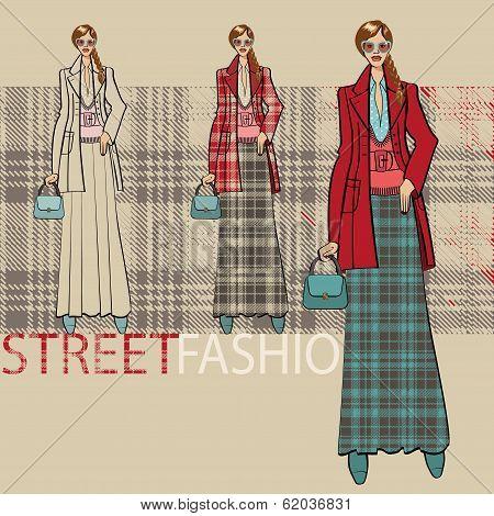 Fashionable Girl In  Long Skirt.options Ensemble.fashion Illustration