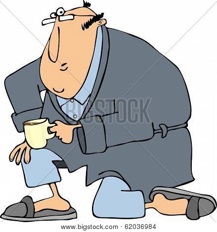 Man in bathrobe on one knee