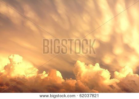 Mammatus And Cumulus Clouds After A Storm