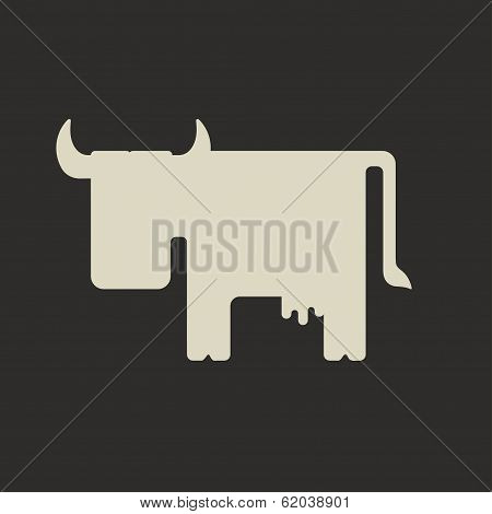 Silhouette of cute white cartoon cow with horns