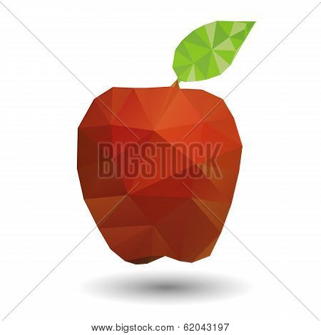 Red apple in geometric origami style