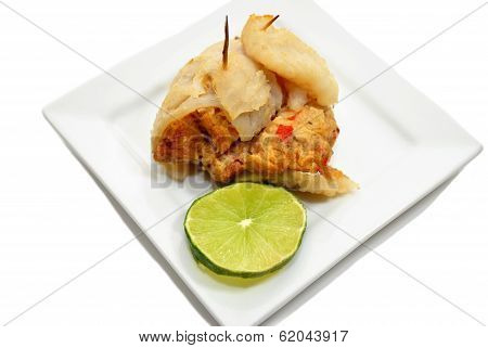 Baked Stuffed Fish With A Slice Of Lime