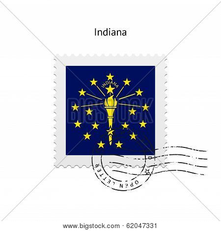 State of Indiana flag postage stamp.