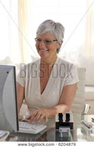 Senior Woman Working With A Computer